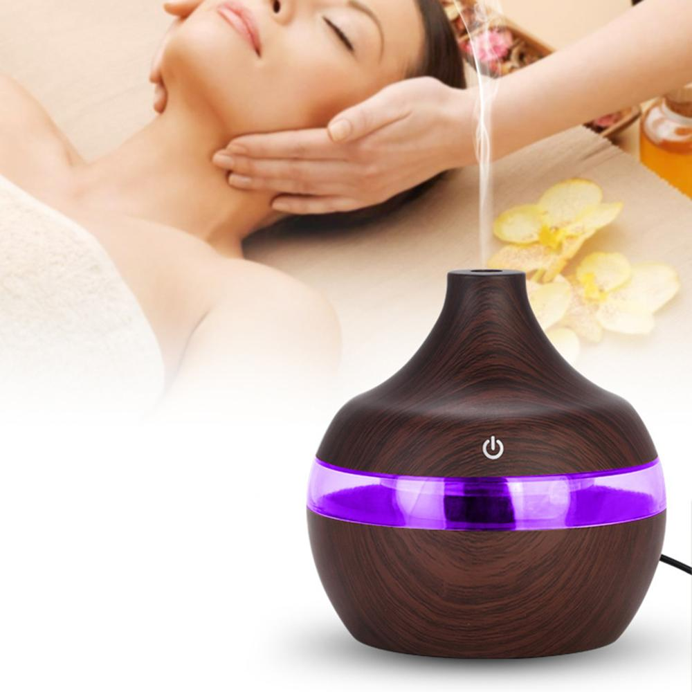 300ml Spa Yoga Humidifier Electric Aroma Air Diffuser Wood Ultrasonic Air Humidifier Essential oil A