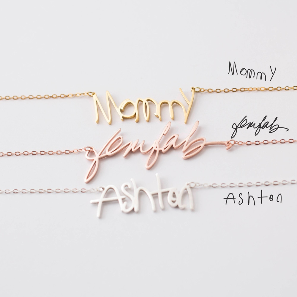Ожерелье с именем на заказ, персонализированное ожерелье с рукописным письмом, подвеска с подвеской, чокер, ожерелье, ювелирные изделия для ...