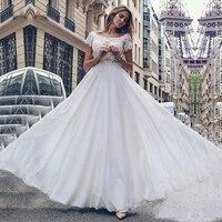 boho wedding dress scoop appliques lace a line chiffon cap sleeves beach wedding gowns 2020 floor length bridal dresses