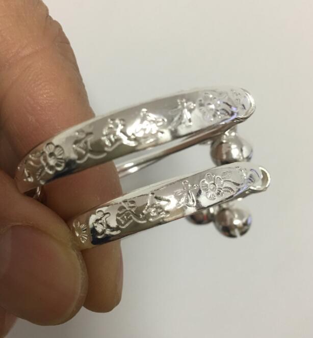 Envío Gratis> exquisita pulsera de tótem de plata tibetana con un par de brazaletes