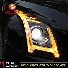Car Styling LED Head Lamp Case for Cadillac ATS headlights 2014 2015 2016 Cadillac ATS ATSL LED H7 hid Q5 Bi-Xenon Lens low beam