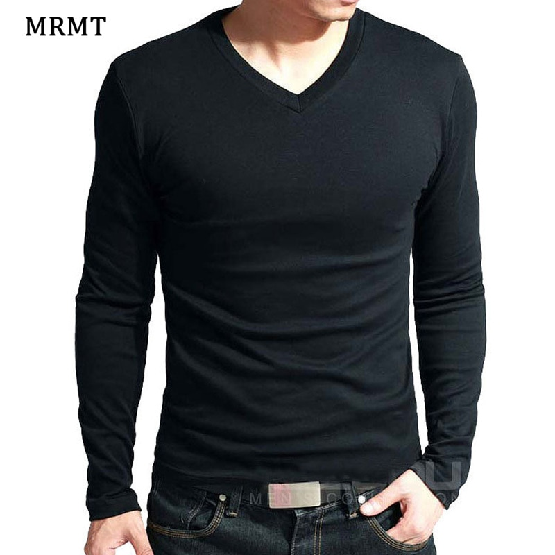 2021 Elastic Mens T-Shirt V-Neck Long Sleeve Men T Shirt For Male Lycra And Cotton T-Shirts Man Clothing TShirt Brand Tees