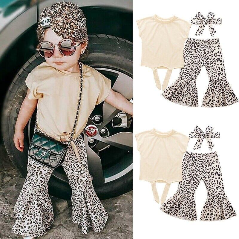 3 piezas de ropa para niños y niñas sin mangas camisetas Tops + Pantalones largos de campana con estampado de leopardo + diadema chica vacaciones trajes