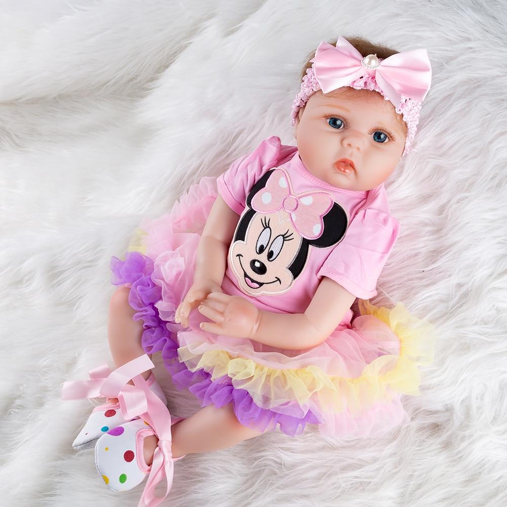 Мультяшные силиконовые куклы для девочек, кукла новорожденная, игрушки для новорожденных, рождественские подарки, игрушки, мягкие куклы-сюрпризы 55 см
