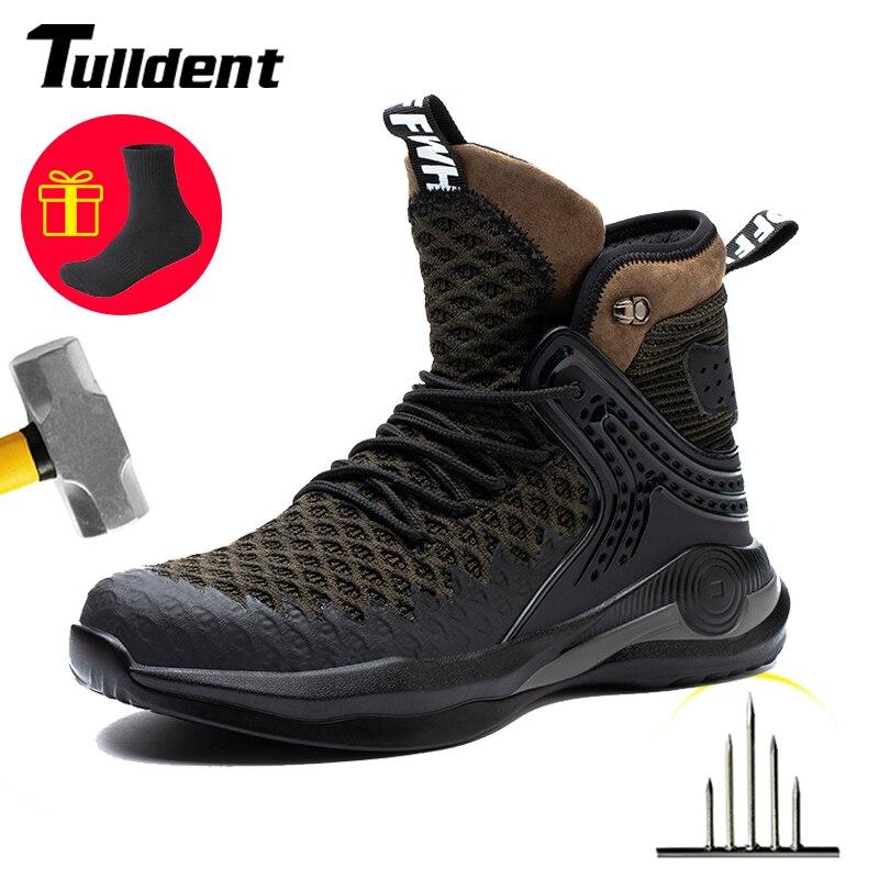 حذاء مزود بفتحة للأصابع من الفولاذ مقاوم للثقب مقاوم للثقب خفيف ناعم مريح غير قابل للتدمير أحذية واقية حذاء رياضي قابل للتنفس