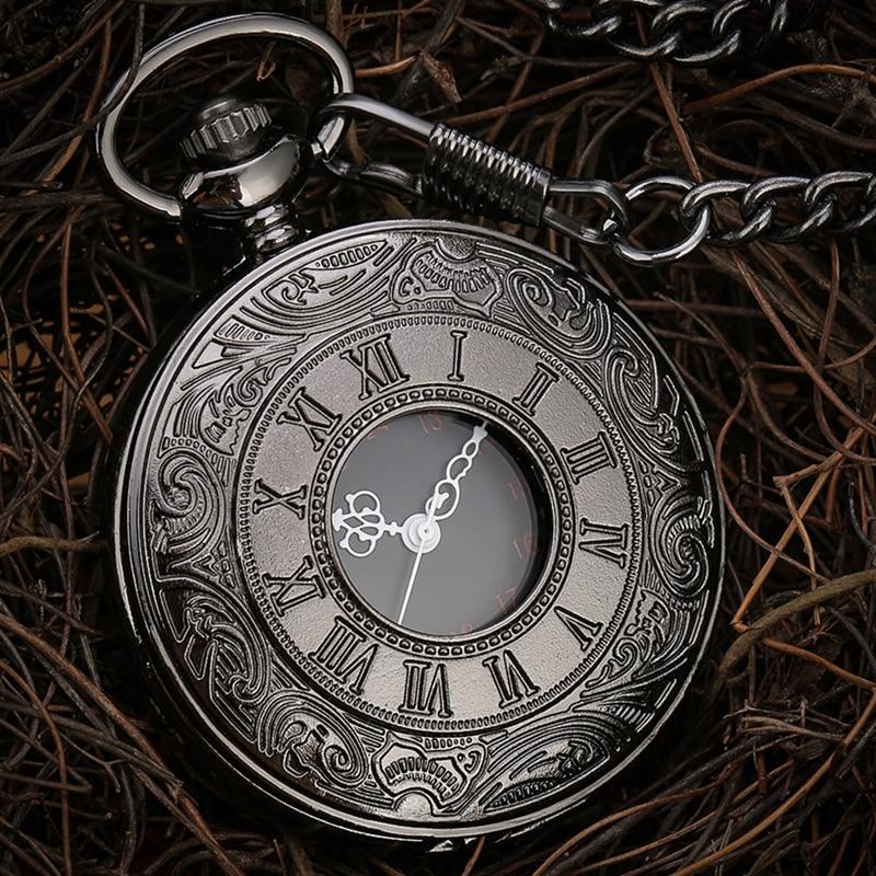 Černé římské číslice křemenné kapesní hodinky muži ženy černé duté pouzdro steampunk vintage přívěsek náhrdelník