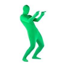 Stretchy corpo tela verde terno vídeo chroma chave de fundo confortável efeito invisível apertado terno trajes cosplay