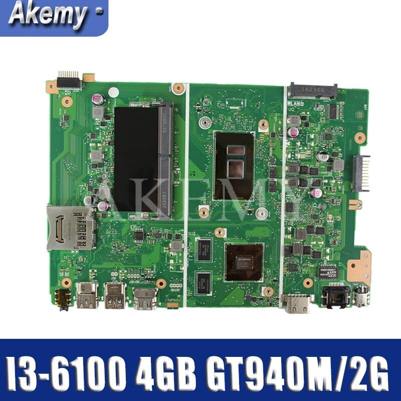 Akemy X441UV Motherboard For Asus X441U F441U A441U X441UR X441UV Laotop Mainboard with I3-6100 4GB RAM GT940M/2G