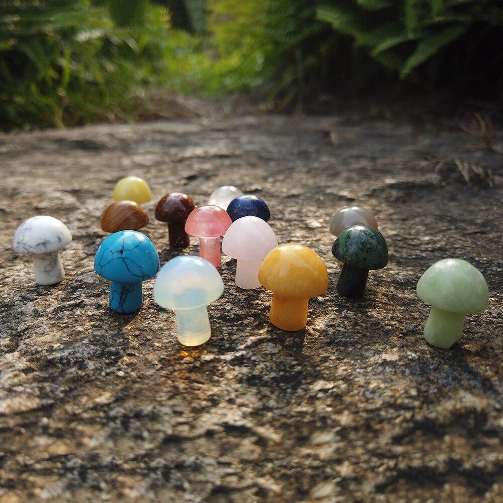 1 шт. миниатюрная статуя грибов, натуральные камни 15 мм, Резной декор, Кварцевая ручка, искусственный кристалл, рееки, безделушка, подарок, украшение для дома