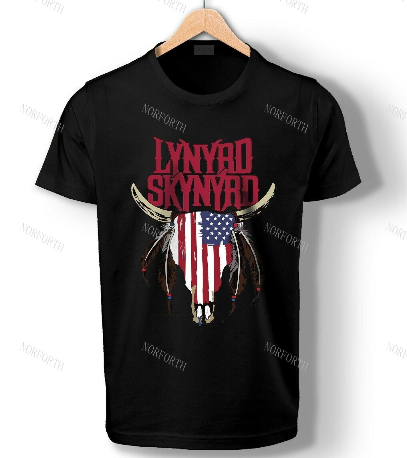 Lynyrd Skynyrd-Camiseta con estampado de bandera americana, Camiseta con estampado de calavera...