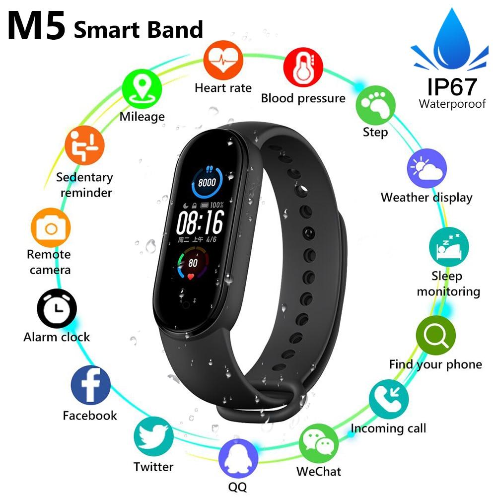 M5 Smart Watch clock Band Sport Fitness Tracker Pedometer Heart Rate Blood Pressure Monitor Bluetooth Watches Bracelet Men Women
