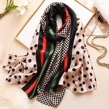 Fashion 2020 Luxury Designs Women Scarf Silk Feeling Shawls for Lady Pashmina Beach Stoles Hijab Scarves Dot Print Shawls Wraps