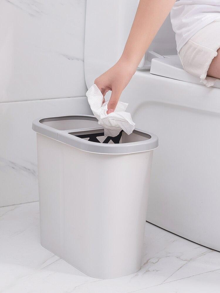 Large Nordic Trash Can Recycling Bins Plastic Trash Bin Kitchen Rectangle Garbage Sorting Rangement Cuisine Trashcan BK50LJ enlarge