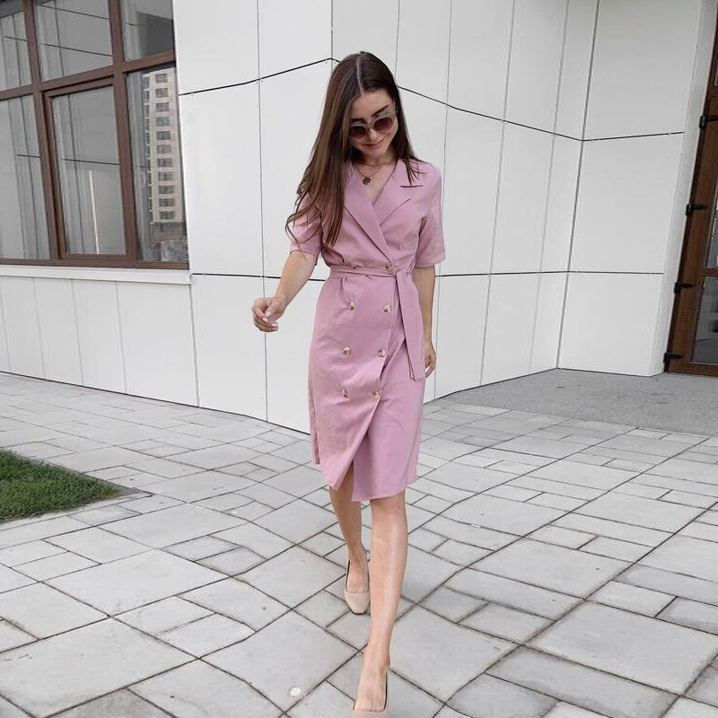 Women Office Lady Front Button Sashes Party Dress Short Sleeve Notched Collar Solid Sheath Casual Dress 2021 Spring New Dress spring autumn new fashion female button long sleeve office lady solid shirt dress women casual slim new dress
