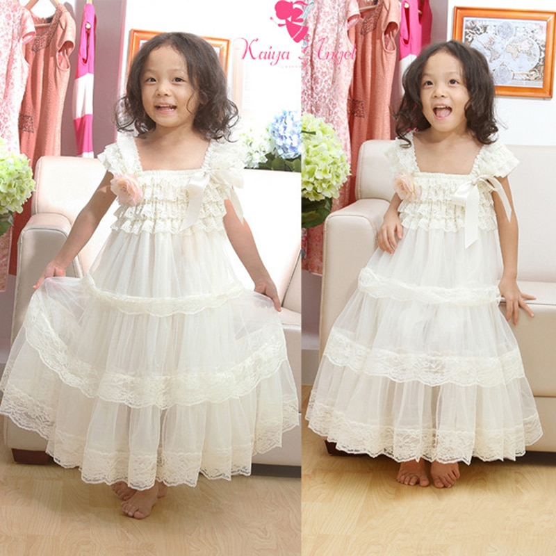 Kaiya زاوية الأطفال كوريا الاطفال فتاة فساتين الصيف الملابس طبقة مزدوجة فستان حفلة الأميرة لفتاة سنو وايت اللون