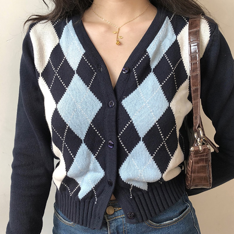 Vintage V-Neck Plaid Long Sleeve Women Sweater 2020 Autumn Winter Short Knitted Cardigan Sweaters Womes England Style Tops