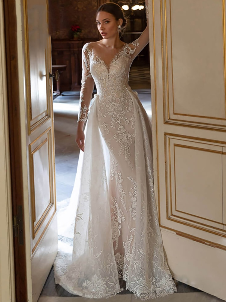 Review Detachable Vintage Bridal Gown, Gorgeous Applique Lace And Spoon Neck Beaded Long-Sleeved Mermaid Wedding Dress Customization