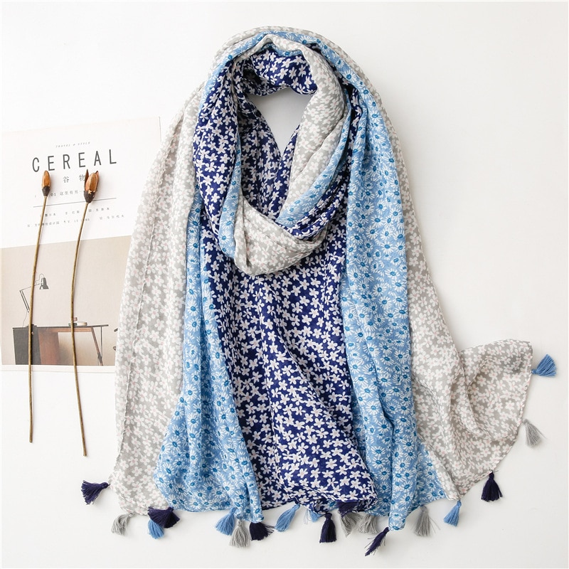 2021 Newest Women Floral Printed Pattern Cotton Tassel Scarf Shawls Wraps Hijabs Scarf