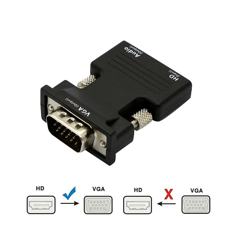 HDMI-compatible Female to VGA Male Converter 3.5mm Audio Cable Adapter 1080P FHD Video Output for PC