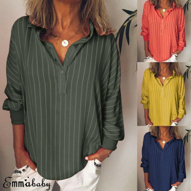 Talla grande 2019 otoño Boho mujeres rayas camisa Tops manga larga cuello pico paquete botón Casual playa larga Camiseta L-5XL