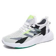 Men's Breathable Flying Knit Sneakers Couple Running Shoes Hollow Striped Lace-up Footwear Wearable