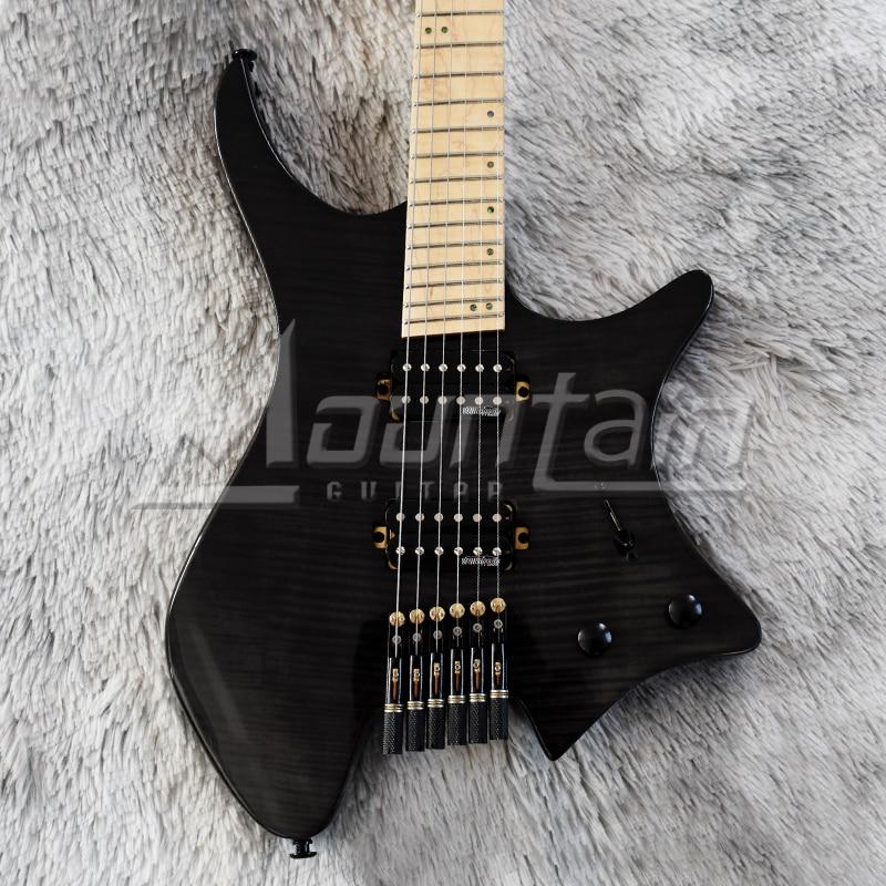 Montaña sin cabeza guitarra fanned frets sin cabeza guitarra Arce fret aliso cuerpo llama Arce superior Arce cuello fret envío gratis