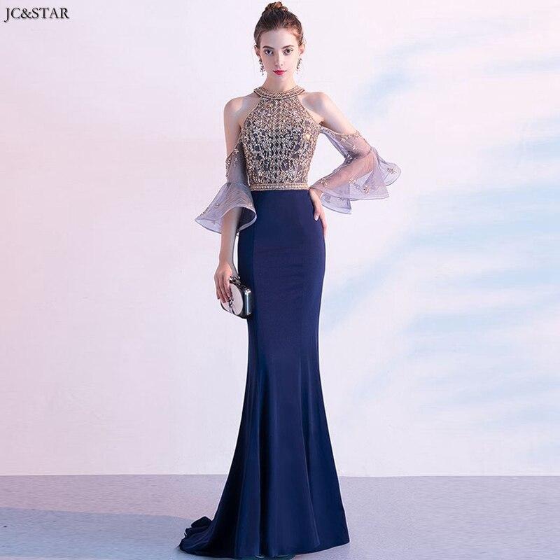 Vestido de fiesta para boda nuevo encaje cristal Mangas de trompeta dorado azul marino atractivo sirena Gun pesta dewasa sukienka d de lujo