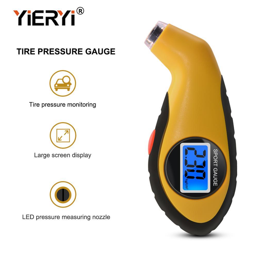 Yieryi Pneu Air Pressure Gauge Medidor Eletrônico Digital LCD Pneu de Carro Manômetro Barómetros Ferramenta Tester para Auto Car Motorcycle