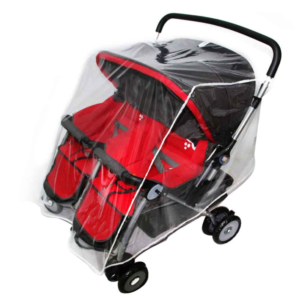 Cochecito de paseo, cochecito de bebé gemelo Escudo de viento para exterior Universal impermeable de PVC, cubierta de lluvia, accesorios transparentes para bebé