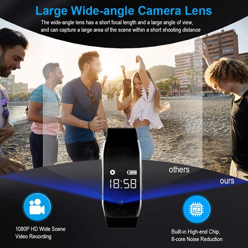 1080P HD Mini Camera Electronic Bracelet Portable Body Cam Video Photo Recording with Micro for Business Conference and Security enlarge