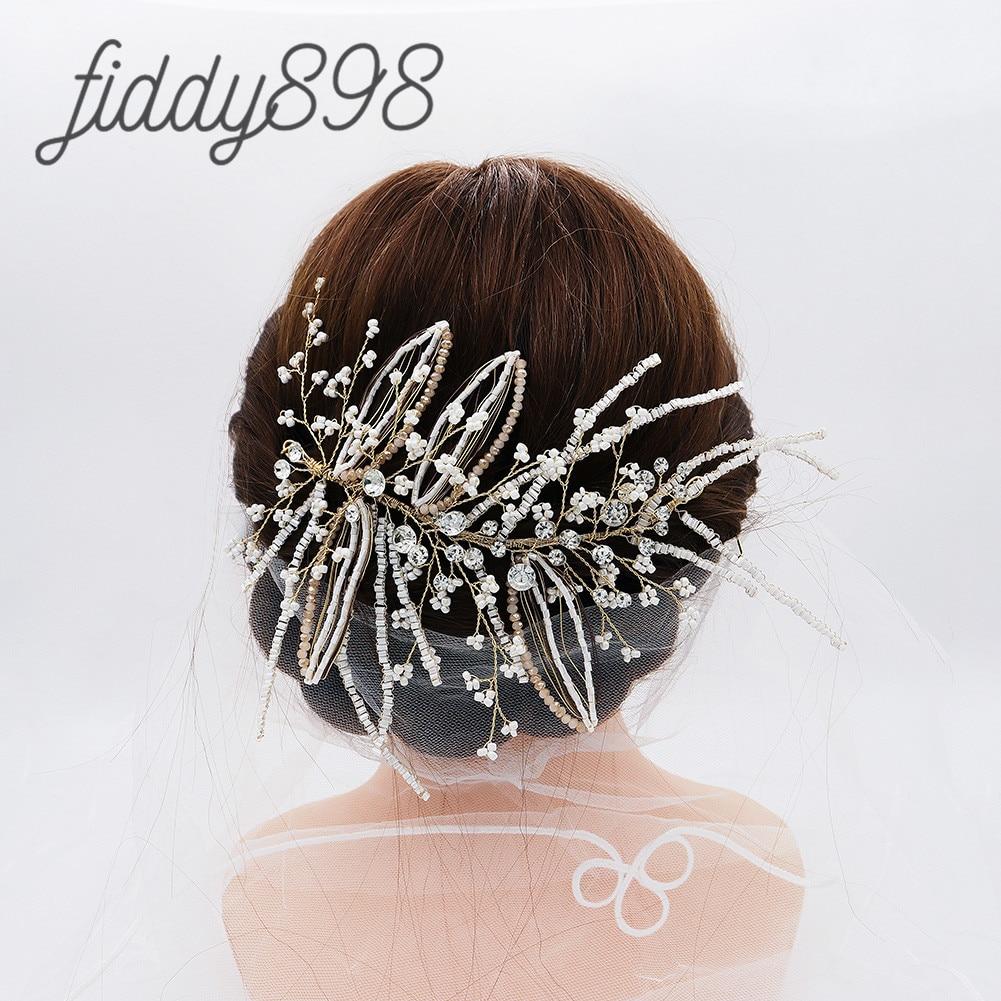 Accesorios para el cabello de boda hechos a mano, joyería de perlas,...
