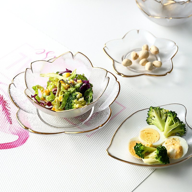 Plato de flor de cerezo de phlum Penh cuenco de vidrio japonés plato de ensalada de hogar plato de postre