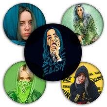 Estampado 3D cantante de hip-hop insignias de Billy Eilish broches personalizados bolsa ropa DIY solapa Pin decoración broches insignia de Navidad