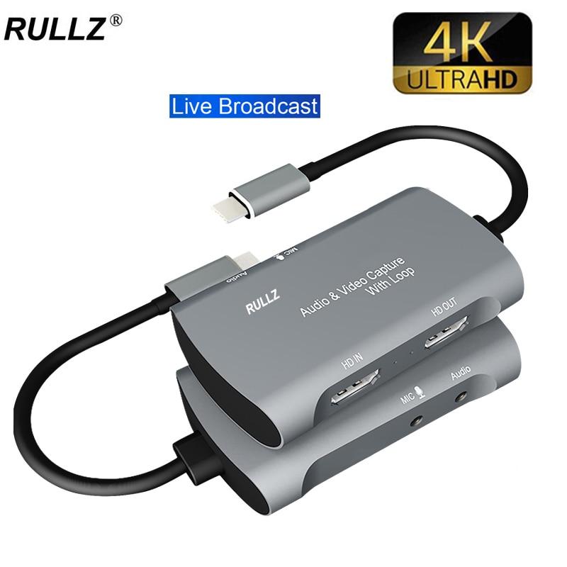 Micrófono de bucle de TV 4K, entrada tipo C, tarjeta de captura...