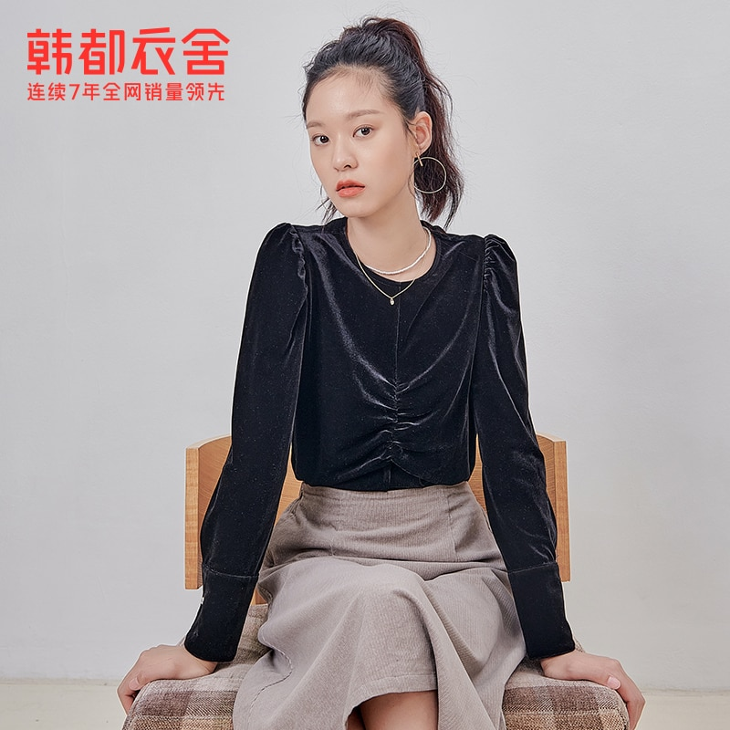 Handu Clothing House 2021 Early Spring New Women's Clothing Retro Top Design Sense Niche Velvet Long