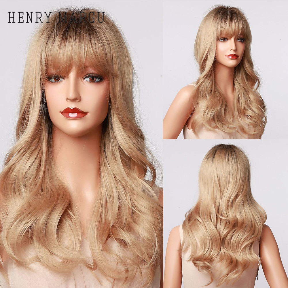 HENRY MARGU Synthetic Long Deep Wave Wigs Ombre Brown Golden Blonde Party Wigs with Bangs for White/Black Women Heat Resistant