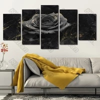 plant style mural canvas paintings modular bed home decor prints 5 pieces nostalgia flower rose decoration living room fresco