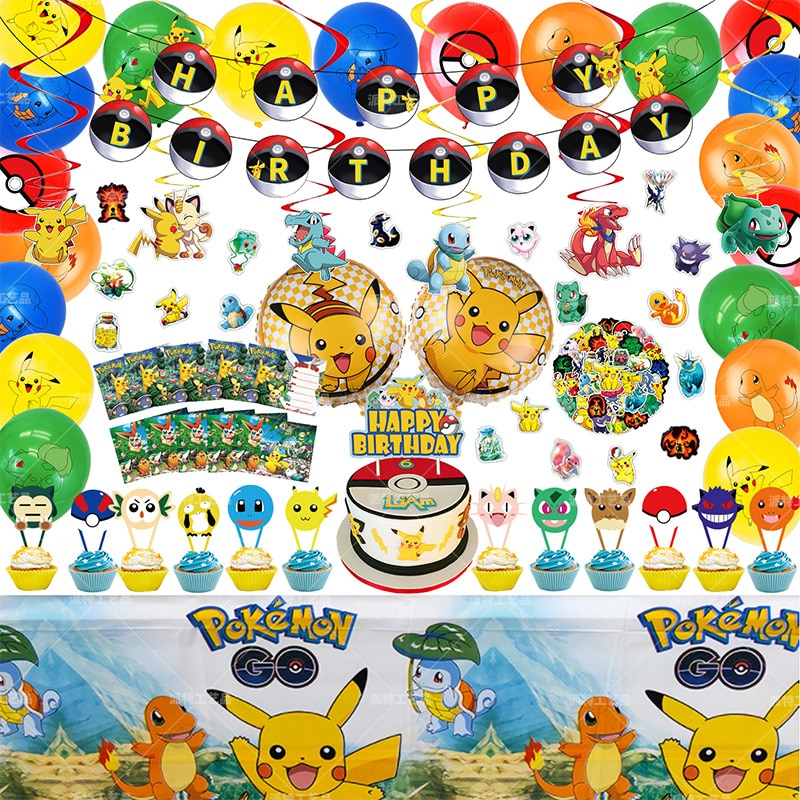 Pokemon Birthday Banner Big Set Cake Box Pikachu Hydrogen Ball Pokémon Greeting Card Sticker Toy Child Birthday Surprise Gift