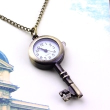 OUTAD 1pcs Unipue Style Key Shaped Watch Bronze Retro Vintage Necklace Pocket Watches Unisex Lover P