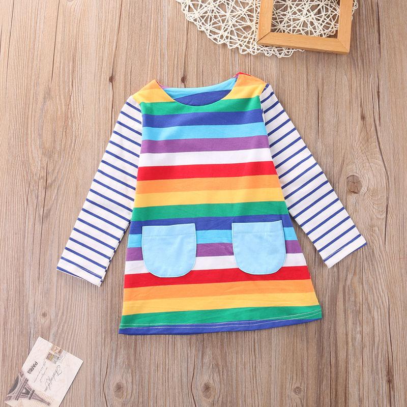 Baby Girls Long Sleeve striped  Dress Casual Cotton Rainbow Dress Princess Dress girls rainbow print striped dress