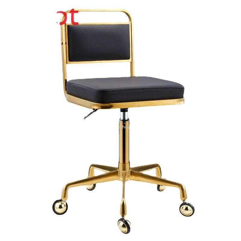 Taburete de trabajo de acero inoxidable dorado, taburete giratorio elevado y rebañado para peluquería, taburete de barbería