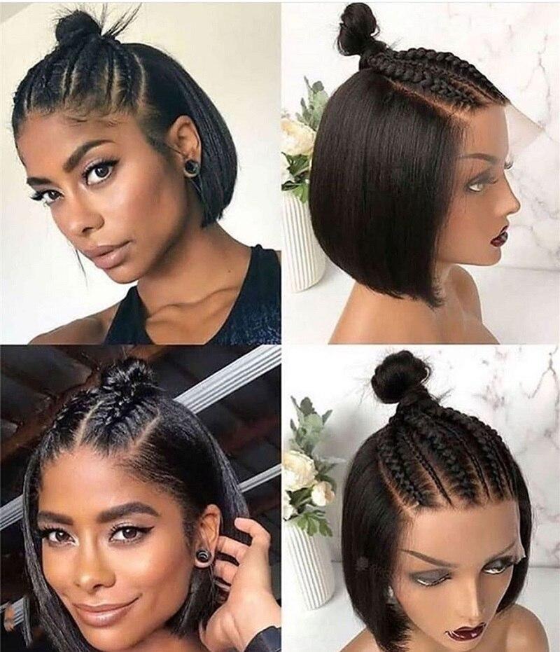 Pelucas de cabello humano Bob corto corte recto 13x4 peluca con malla frontal 250 densidad peluca con encaje Pre desplumado Remy corte Romo peluca para mujeres negras