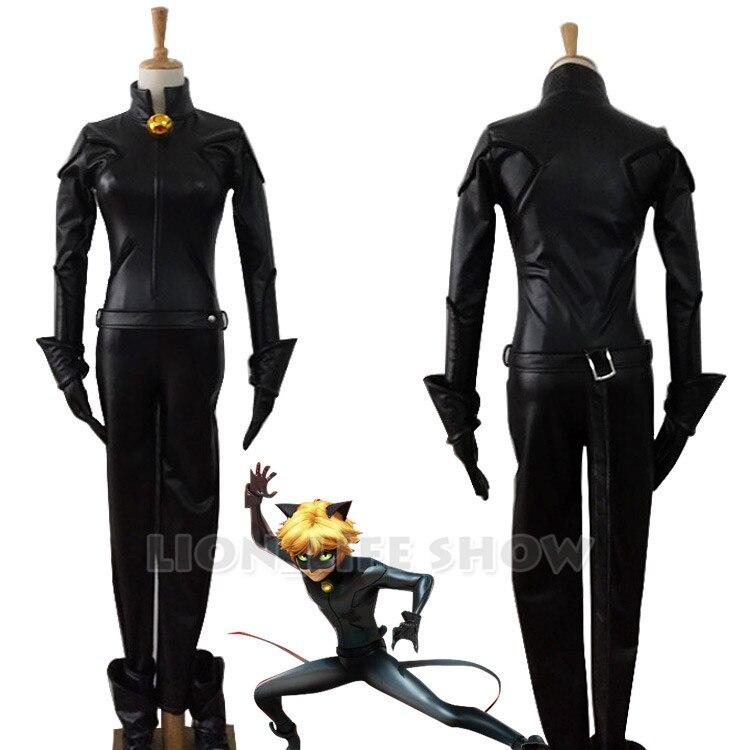 Adrien  Black Cat Noir Catsuit Cosplay Costume + Mask halloween cosplay