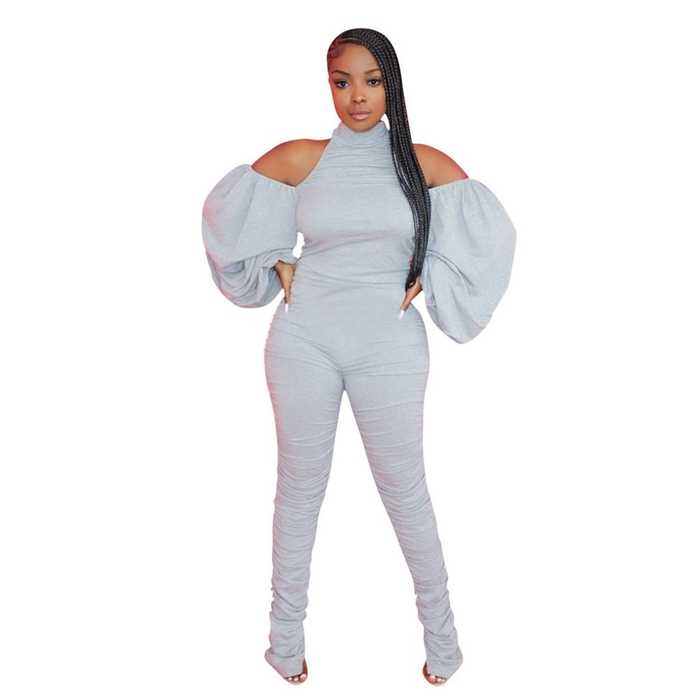 Adogirl 2020 Fall Women Solid Jumpsuit Sexy Haler Backless Off Shoulder Romper Lantern Sleeve Stacked Pants Playsuit Overalls women sexy v neck jumpsuit casual wide leg stripe overalls off shoulder backless playsuit