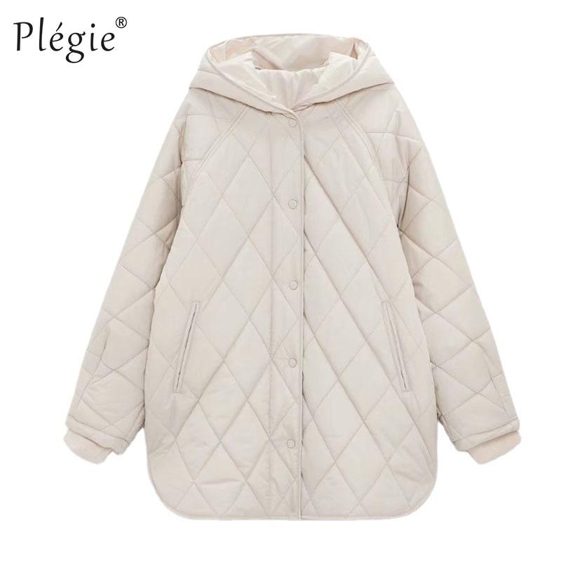 Женская винтажная клетчатая парка с капюшоном, Повседневная Свободная длинная хлопковая куртка большого размера с карманами для зимы, 2021