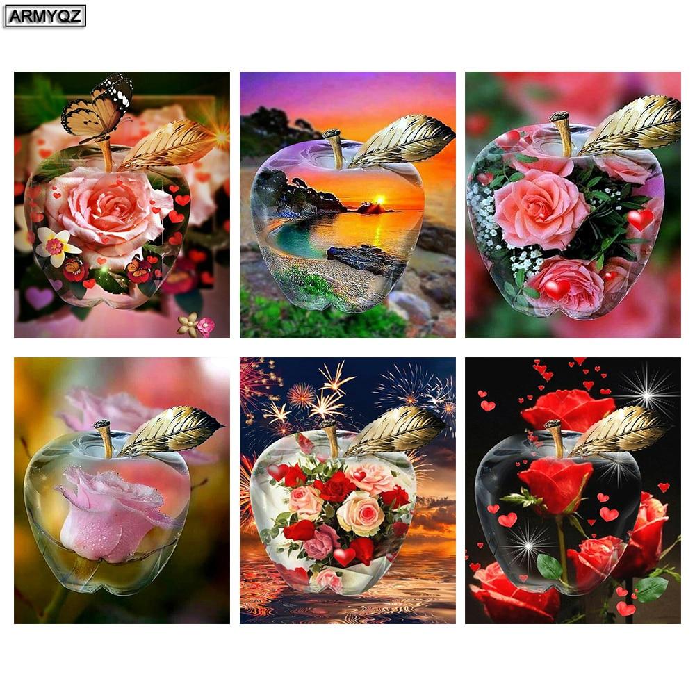 Pegatina de pared pintura de diamantes flor Rosa mosaico de diamantes cuadrado manzana diamante bordado venta Diamante de imitación imagen decoración hogar