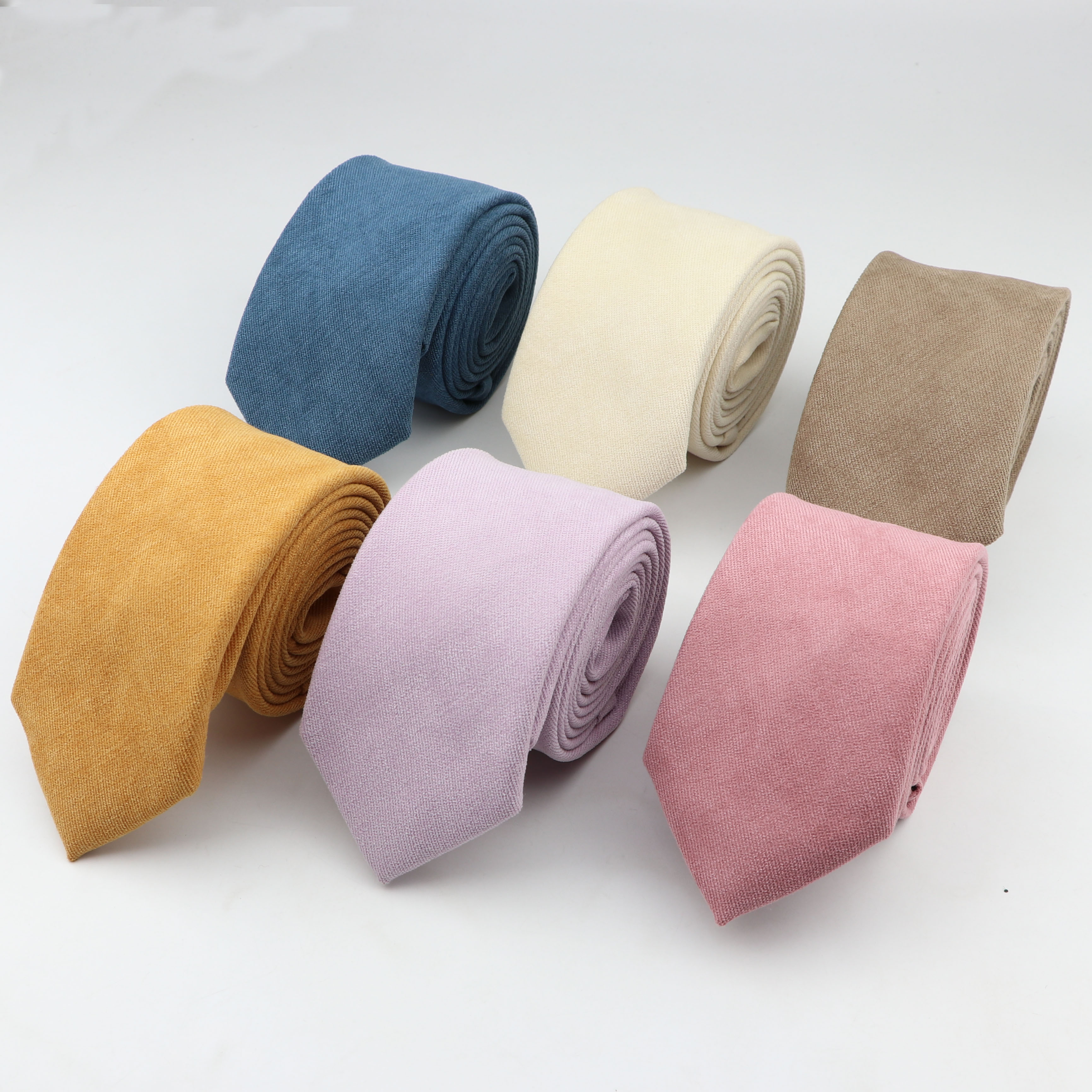 Soft Microsuede Ties Men's Solid Color Tie Narrow 7cm Width Necktie Slim Skinny Cravate Thick Neckties