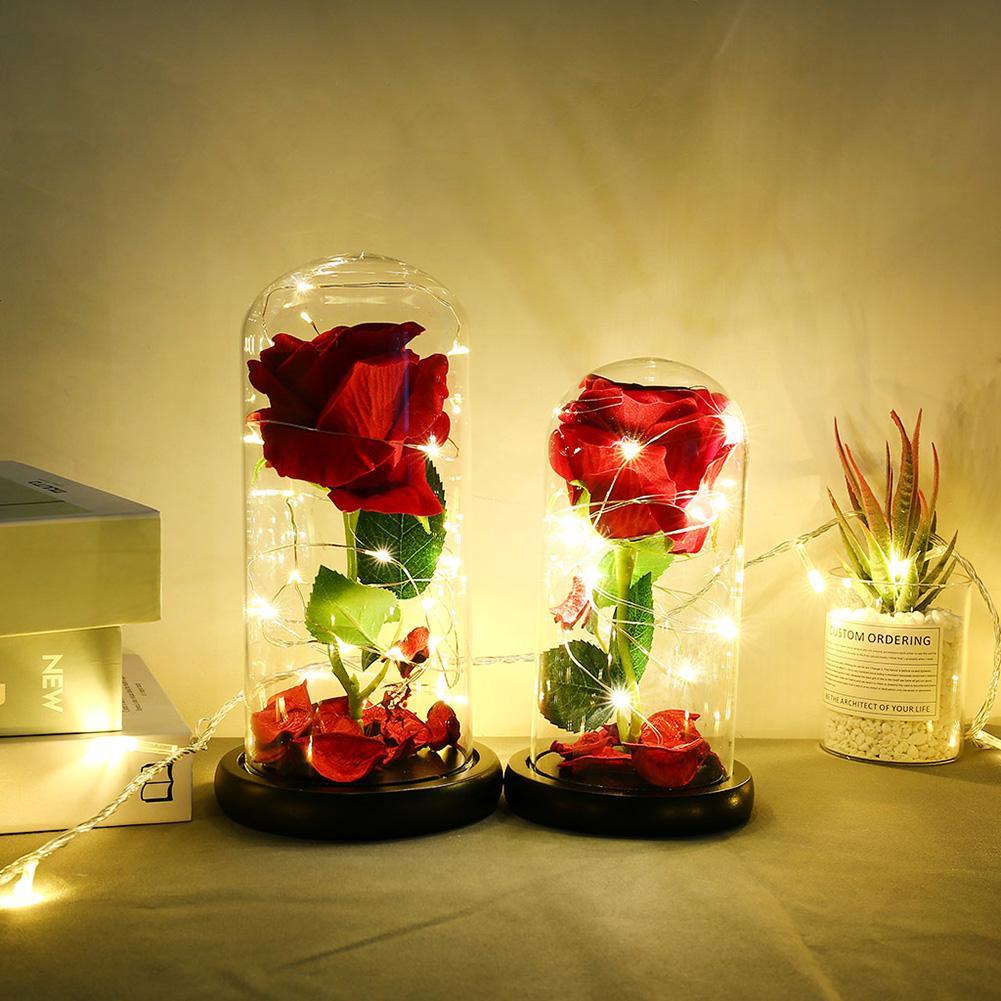 Rosa Roja en frasco Led Rosa flor luz cúpula de cristal Base negra para cumpleaños Día de la madre regalo Día de San Valentín lámparas LED rosa