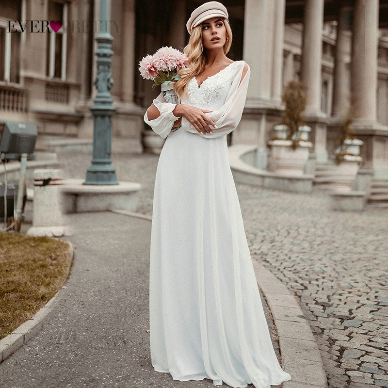 Simple White Wedding Dress Boho Ever Pretty Elegant A-Line V-Neck Chiffon Long Sleeve Robe Sexy Bridal Gown Bride To Be 2021