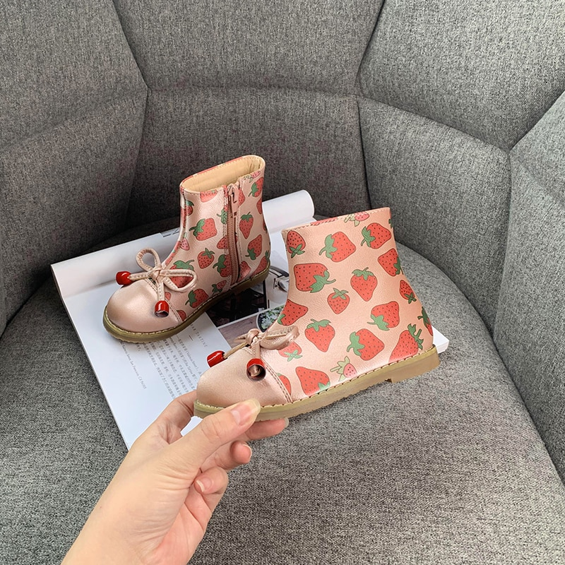 Kids Boots Princess Short Boots Martin Boots Spring and Winter 2020 New Single Boots 2-4-year-old Children's Plush Leather Boots enlarge